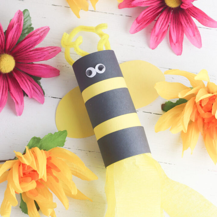 Spring Bee Windsock -0 The spring bee windsock is the perfect way to celebrate beautiful spring weather by reusing empty toilet paper rolls! | courtneypies.com - #toiletpaper #spring #bee #windsock