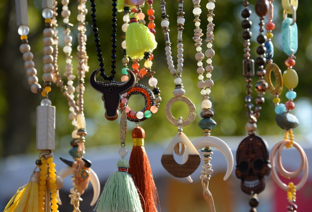 hanging beaded necklaces of all kinds of colors