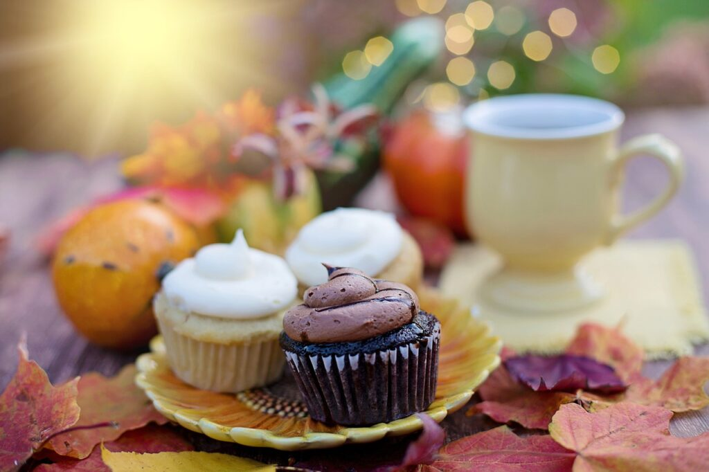plate of cupcakes with a fall scenery