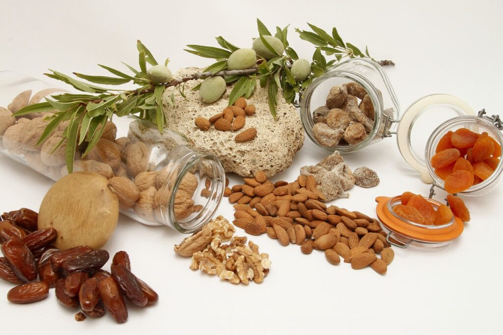 nuts and dried fruits on a white background